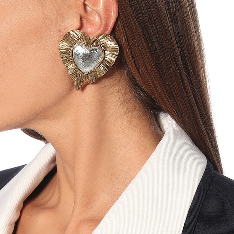 ruffled gold plated vintage heart earrings NHYQ304917's discount tags