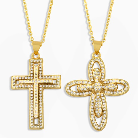 collier croix en diamant simple hip hop NHAS304930's discount tags