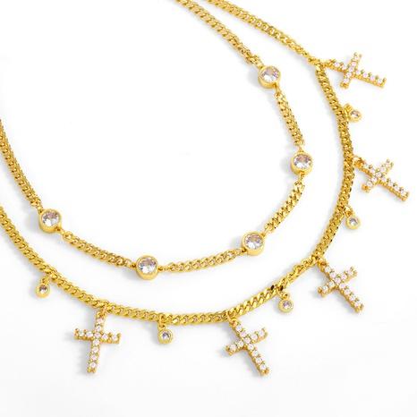 retro micro-inlaid zircon cross tassel necklace  NHAS304933's discount tags