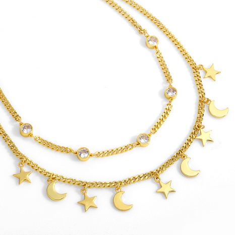 glossy star moon pendant necklace  NHAS304934's discount tags