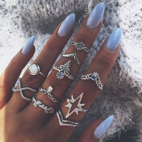 New Retro Style Purple Diamond Lightning Leaf Star Ring set NHGY304957's discount tags