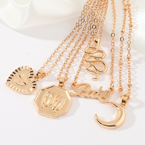 fashion metal moon heart letter snake-shaped necklace NHNZ304963's discount tags