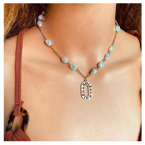 fashion alloy letter pendant pearl necklace NHCT304970's discount tags