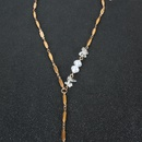 metal chain retro pearl necklace NHCT304979