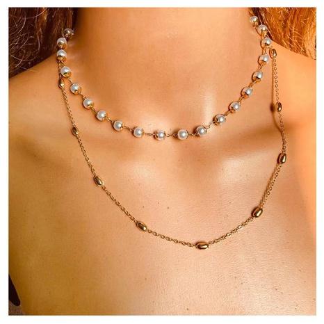 einfache Retro geometrische Legierung Perlenkette NHCT304984's discount tags