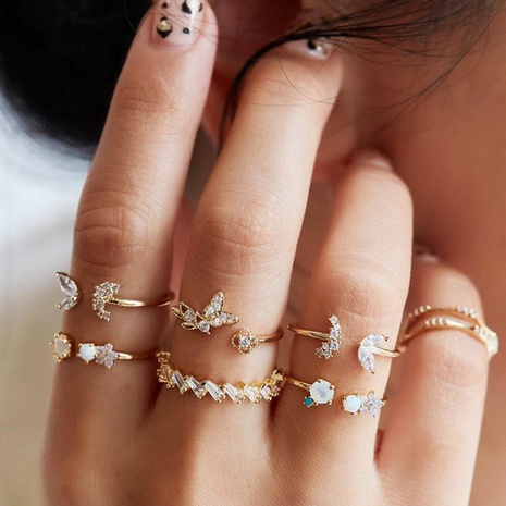 creative simple exaggerated diamond butterfly flower 7-piece open joint ring NHYI305022's discount tags