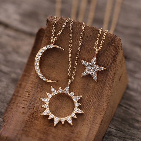 fashion new diamond star moon necklace NHYI305024's discount tags