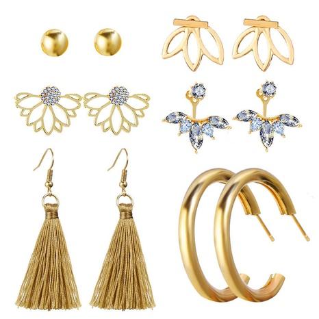 einfache Goldperlen Blume Strass Ohrringe Set NHYI305026's discount tags