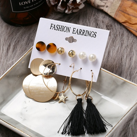 Retro Star Moon Tassel Earrings 6 Pairs Set  NHYI305030's discount tags