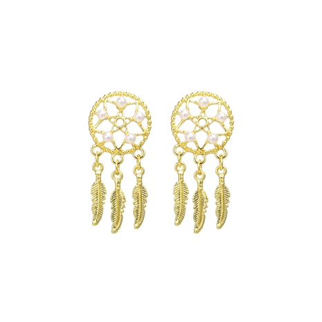 retro pearl feather pendant earrings NHYI305038's discount tags
