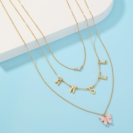 butterfly letter Angel multi-layer fashion necklace NHAN305072's discount tags