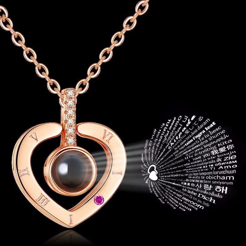 fashion 100 languages I love you heartshaped pendant necklace NHRN304686