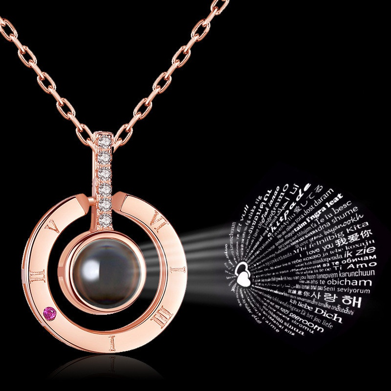 100 languages love you ring pendant necklace NHRN304685