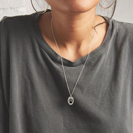 titanium steel lettering necklace NHTF304860's discount tags