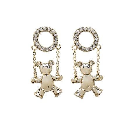 925 silver needle flashing diamond hoop bear earrings NHQC305082's discount tags