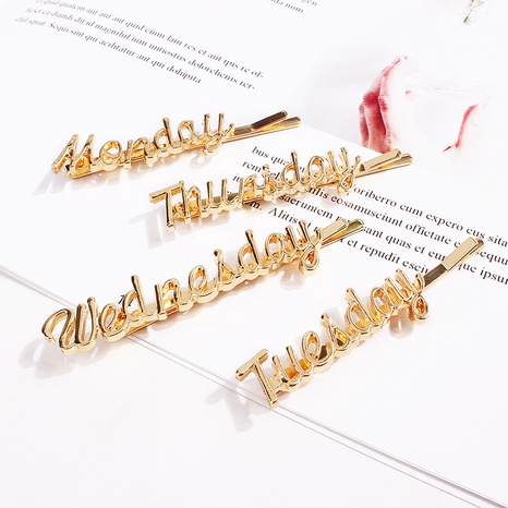 English letters hair clips Monday to Sunday hairpin hair accessories NHQC305083's discount tags