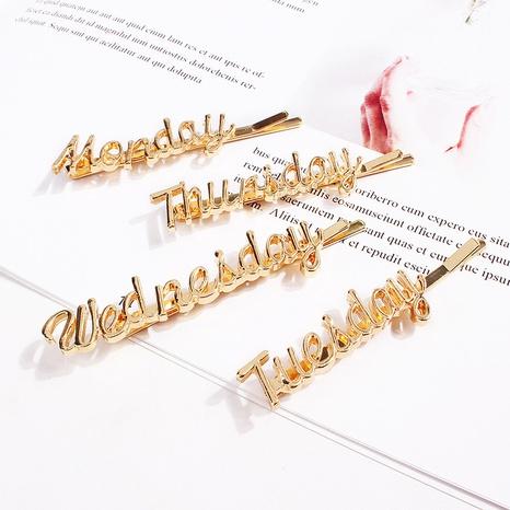 Pinces à cheveux en lettres anglaises du lundi au dimanche Accessoires pour cheveux en épingle à cheveux NHQC305083's discount tags