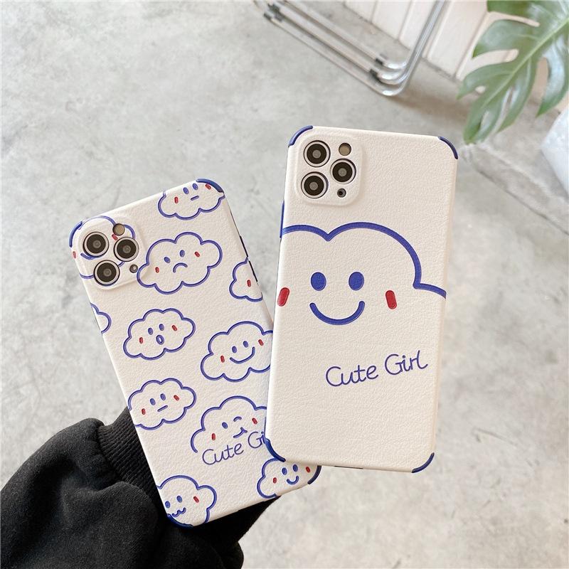 cute cloud smiley face 12mini 11pro mobile phone case for Apple se2 8plus X NHFI305285