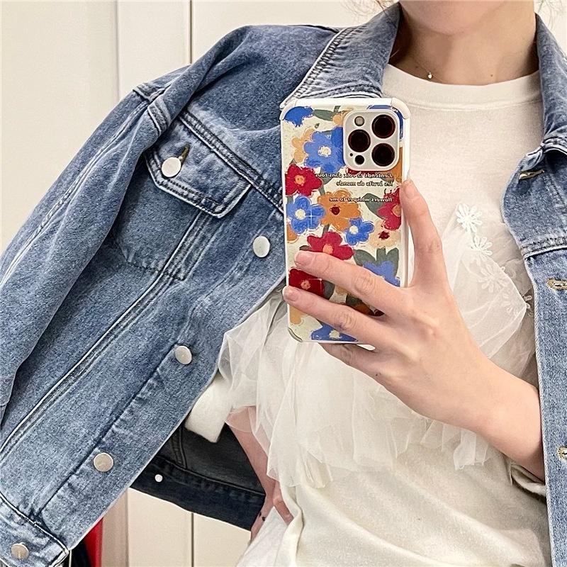 retro oil painting flower 11 12pro Max mini mobile phone case for Apple XXR se2  NHFI305356