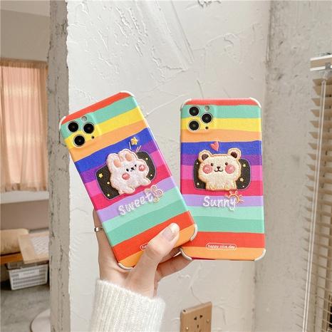 Coque de téléphone portable lapin ours arc-en-ciel brodé coréen pour iPhone8plusXRse2 NHFI305385's discount tags