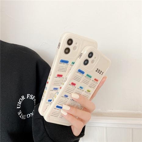 Coque de téléphone calendrier 2021 à imprimé latéral pour iPhoneXR 7plus SE2 NHFI305416's discount tags