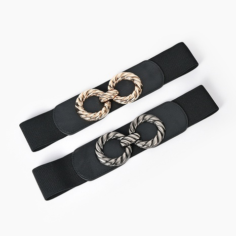 New alloy double round buckle elastic wide waistband  NHPO305431's discount tags