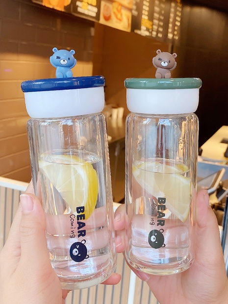 cute bear glass double layer bottle  NHtn305441's discount tags