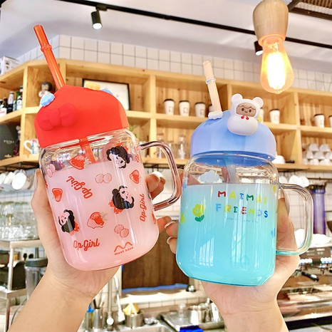 Cute fashion glass water cup  NHtn305458's discount tags