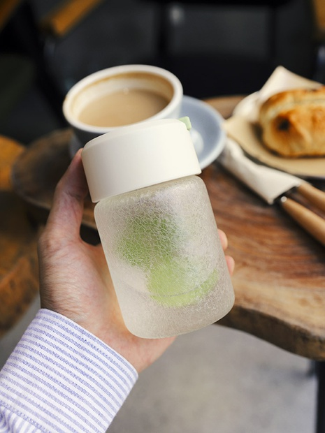 Portable cute creative frosted glass water cup NHtn305461's discount tags