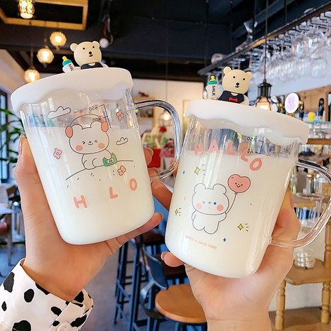 Cute bear portable anti-scalding glass cup  NHtn305471's discount tags