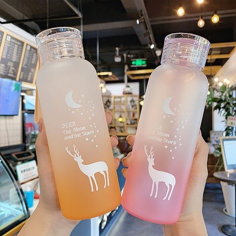 gradient color elk silicone handle glass water cup NHtn305481's discount tags