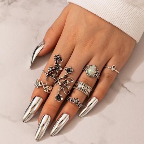 new retro fashion flower diamond elephant ring 7-piece set NHGY305577's discount tags