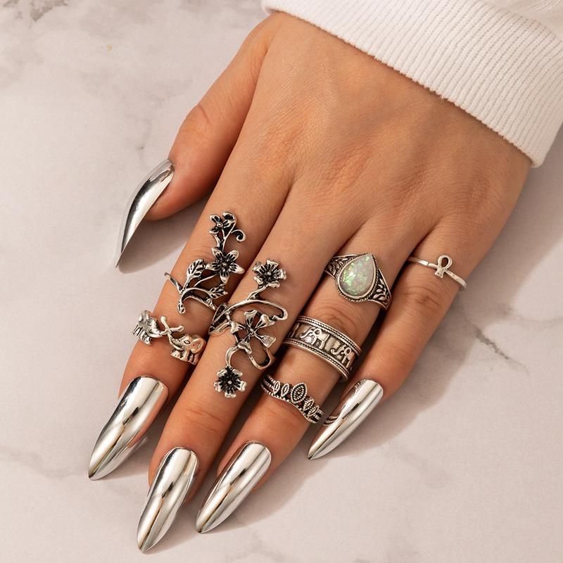 new retro fashion flower diamond elephant ring 7piece set NHGY305577
