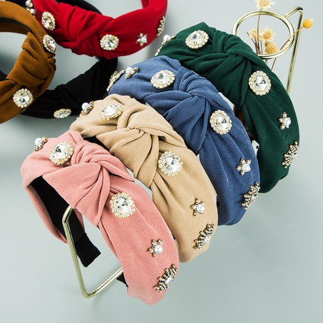 retro baroque style wide-brimmed rhinestone pearl headband NHLN305580's discount tags