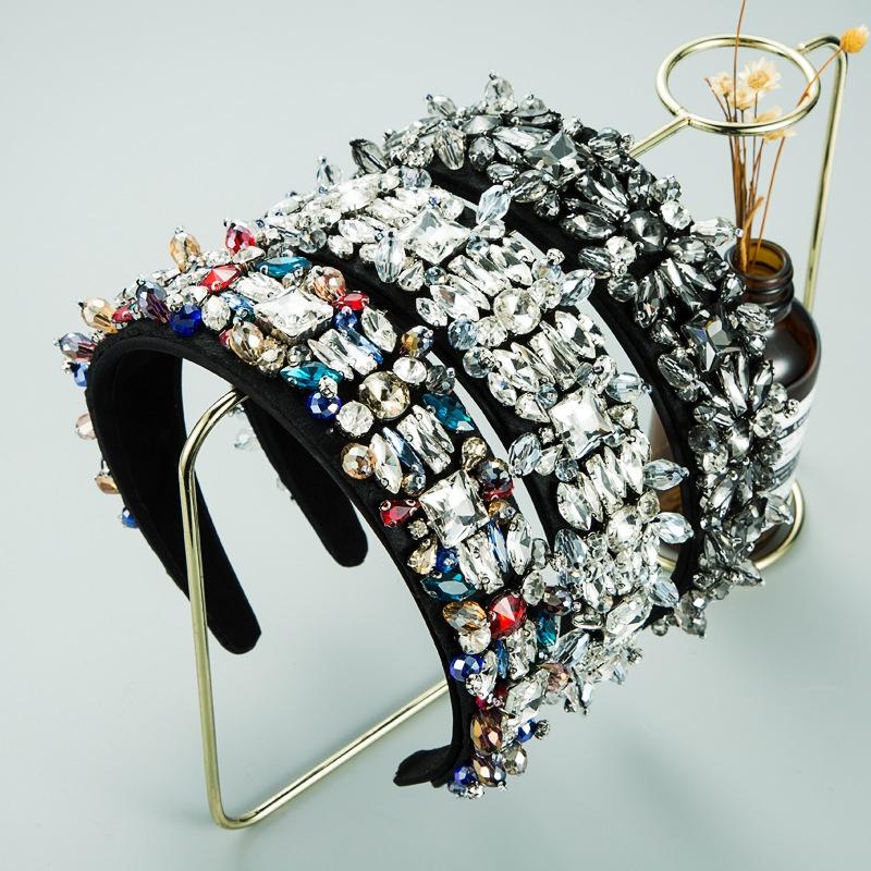 fashion glass diamond crystal headband  NHLN305581