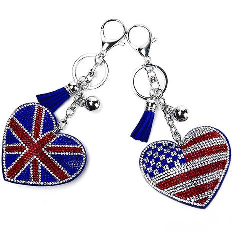 porte-clés coeur drapeau américain serti de diamants NHAP305587's discount tags