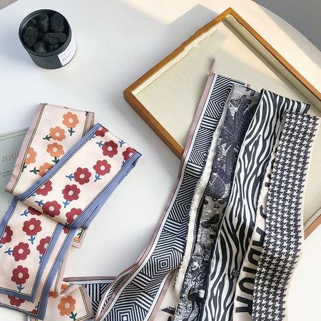 Plaid silk scarf fashion flower printing hair band NHSM305168's discount tags
