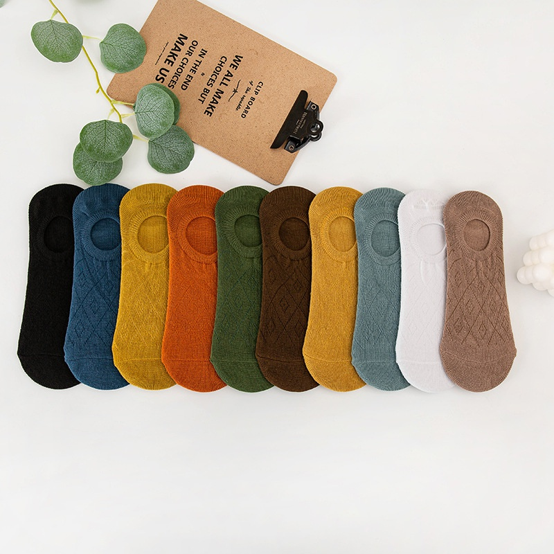 straight plate shallow mouth mesh breathable solid color polyester cotton men's socks  NHBF305629