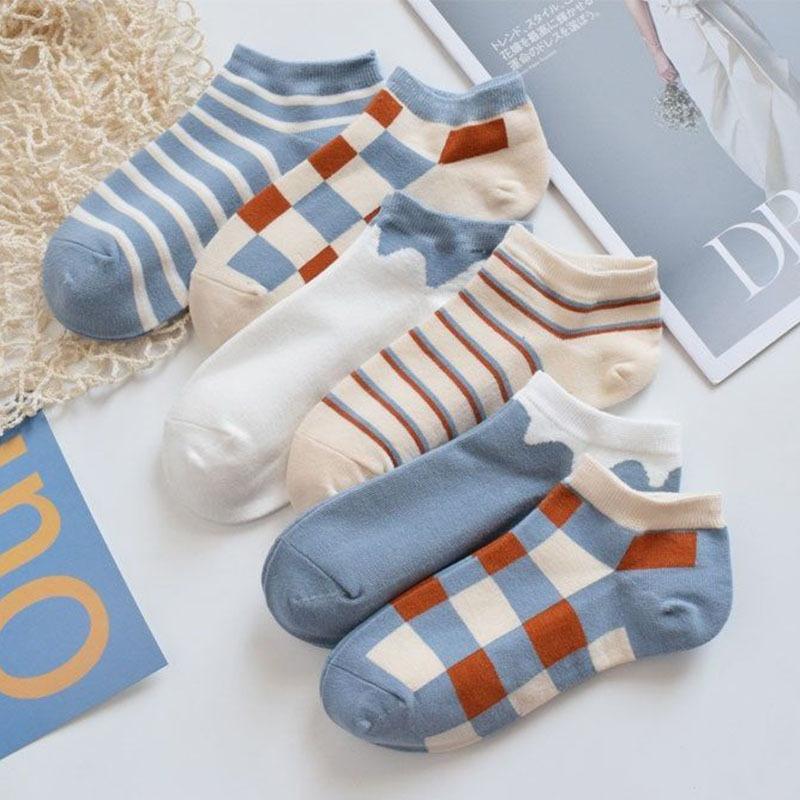 sports plaid short sweat-absorbent polyester cotton socks wholesale NHBF305635