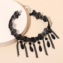 Gothic dark tassel lace choker NHRN305637