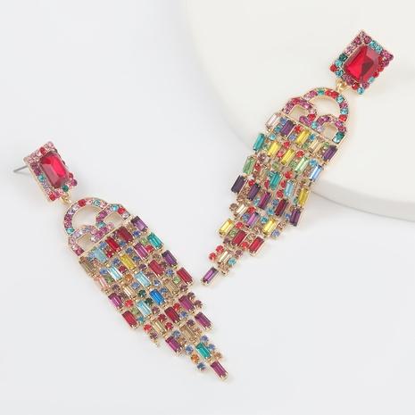 Fashion color diamond series alloy square rhinestone long tassel earrings  NHJE305779's discount tags
