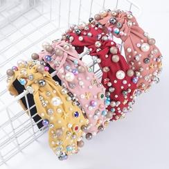 Moda diadema tela diamantes diamantes de imitación perlas de imitación anudadas banda para el cabello NHJE305788