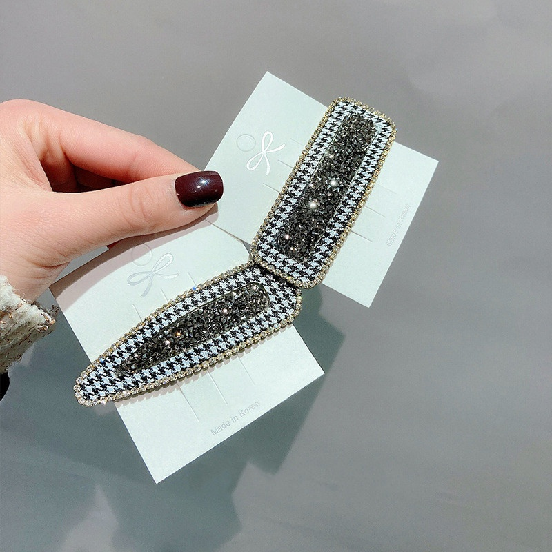 Rhinestone houndstooth hairpin bangs clip side clip BB clip hair accessories  NHWF305640