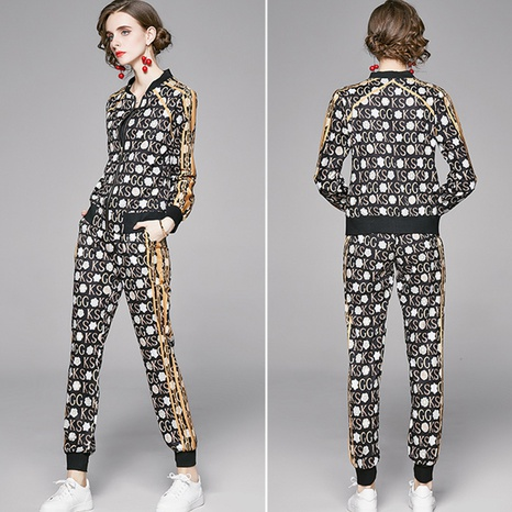 Fashion cardigan printing jacket pants suit NHUO307320's discount tags
