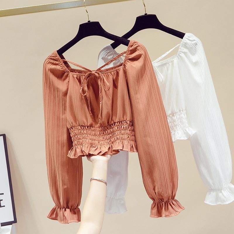 fashion square-neck short lace-up chiffon shirt NHUO307322