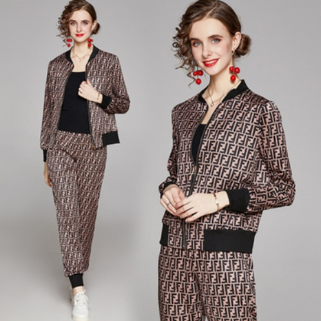 Fashion cardigan printing jacket pants suit NHUO307323's discount tags
