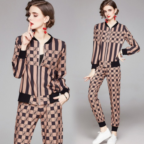 simple new cardigan printing jacket pants suit NHUO307325's discount tags