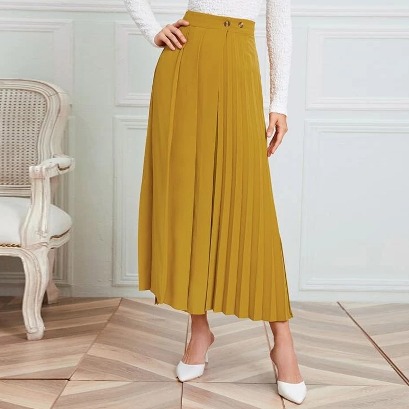 new solid color accordion pleated large swing skirt NHUO307333
