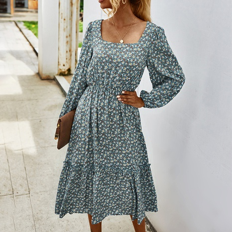 Women's 2021 spring and autumn cross-border small chrysanthemum square neck dress  NHZN442104's discount tags