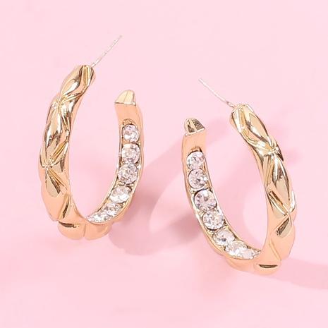 boucles d'oreilles géométriques géométriques en forme de C grand cercle sculpté NHMD443344's discount tags